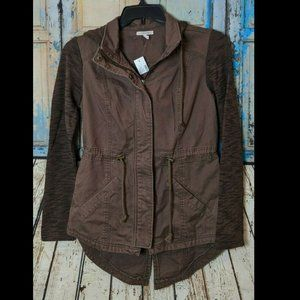 Maurices Womens XSmall Brown Hooded Cotton Jacket